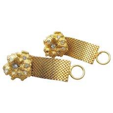 Big Chunky 1970s Wrap Around Gold Tone Nugget & Rhinestone Vintage Cufflinks