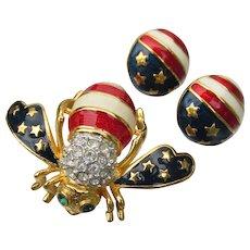 Joan Rivers Patriotic Stars & Stripes Bee Pin & Stud Earrings, New In Pouch