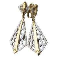 1960s Crown TRIFARI Vintage Long Dangle White Enamel Dangle Earrings