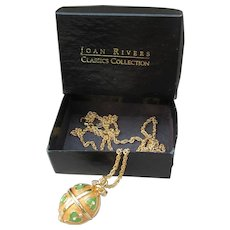 JOAN RIVERS Rare Faberge Inspired Frog Heart Egg Locket Pendant Necklace, MINT In Box!