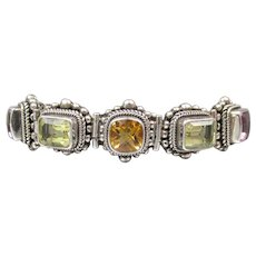 Balinese Sterling Silver 20 Carat Amethyst, Citrine, & Peridot Toggle Bracelet