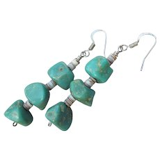 1970s Vintage Native American Chunky Turquoise Nugget Sterling Silver Dangle Earrings