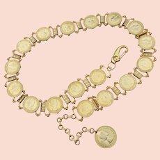 Vintage 1967 English Gold Tone Coin Necklace Book Chain Belt, Queen Elizabeth II Half Penny