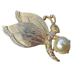 Gem-Craft Signed CRAFT Vintage Faux Pearl & Rhinestone Butterfly Pin