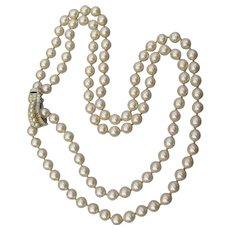 COROCRAFT Coro Craft Vintage Long Faux Pearl Wedding Necklace, Rhinestone Clip Clasp