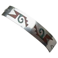 Vintage Native American Zuni Turquoise Coral Chip Inlay Bracelet