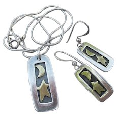 Signed FAR Fetched Mexico Vintage Moon & Stars Sterling Silver Necklace & Earrings Set