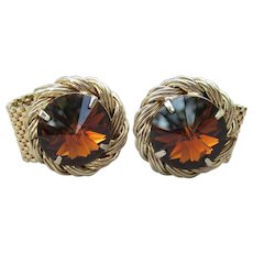 Big Beautiful 1960's Vintage Root Beer Rivoli Rhinestone Gold Mesh Wrap CuffLinks
