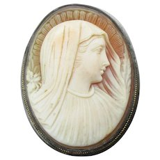 Exceptional Antique Carved Shell MADONNA Cameo Silver & Gold Pin Pendant