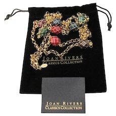 "Joan Rivers Eight Enamel Eggs on 46"" Rolo Chain Necklace, Mint In Pouch"