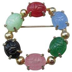 Pretty 1960s Vintage SCARAB Circle Pin