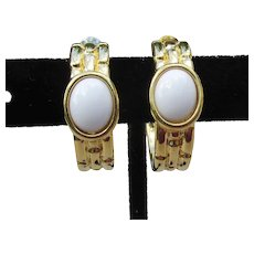 TRIFARI Vintage Bamboo Gold Tone White Cabochon Hoop Earrings