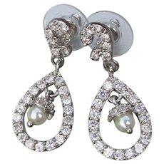 Signed KJL Kenneth Jay Lane Vintage Rhinestone & Faux Pearl Acorn Dangle Earrings, NEW In Box