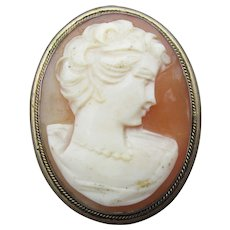 Vintage 800 Silver 1940s Carved Shell Cameo Pin or Pendant