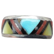 Native American Zuni Vintage Inlaid Turquoise, Coral, MOP Sterling Silver Band Ring, Size 5