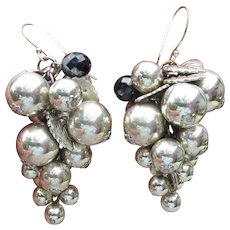 Massive Silver Tone Grape Cluster Pierced Dangle Earrings