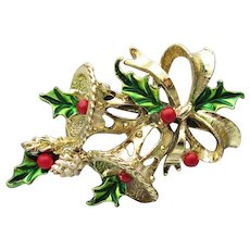 Gerry's Signed Vintage Christmas Pin,Gold Tone Enamel Bells Holly