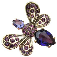 Joan Rivers All the Buzz Purple Crystal Rhinestone Bee Ring,  Size 9, Mint In Pouch