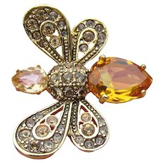 Joan Rivers All the Buzz Golden Topaz Crystal Rhinestone Bee Ring, Size 9