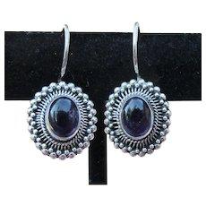Dark Amethyst Cabochon & Sterling Silver Vintage Pierced Earrings