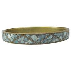 Indie Brass Vintage Inlaid Turquoise Bangle Bracelet, Size Large