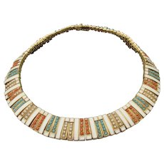 Rare CINER Egyptian Collar Faux Turquoise, Coral, Pearl Choker Necklace