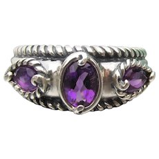 Carolyn Pollack Relios Vintage Sterling Silver Amethyst Band Ring, New In Box