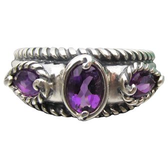 Carolyn Taylor Relios Vintage Sterling Silver Amethyst Band Ring, New In Box