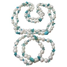 "HONORA Freshwater Baroque Cultured Pearl & Turquoise 40"" Long Vintage Necklace & 2 Bracelets Set, Mint In Pouch!"