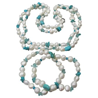 """HONORA Freshwater Baroque Cultured Pearl & Turquoise 40"""" Long Vintage Necklace & 2 Bracelets Set, Mint In Pouch!"""