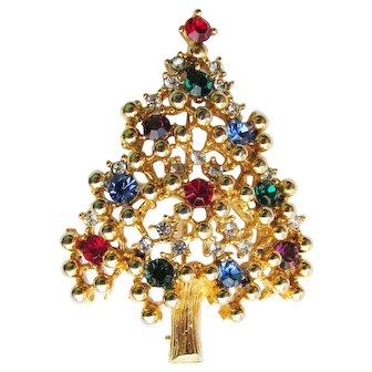 Vintage Signed Eisenberg Christmas Tree Pin