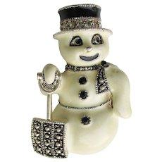 Signed EISENBERG ICE Snowman Enamel & Rhinestone Christmas Pin