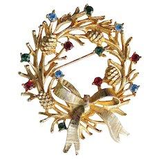 Signed LJM Laurentian Vintage Christmas Rhinestone Wreath Pin