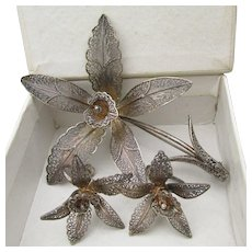 Exquisite Portuguese Vintage Sterling Silver Filigree Orchid Pin & Earrings Set, Mint In Box