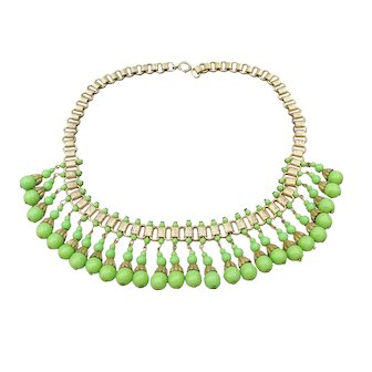 1920's Vintage Egyptian Revival Lime Green Czech Glass Bead Book Chain Collar Necklace