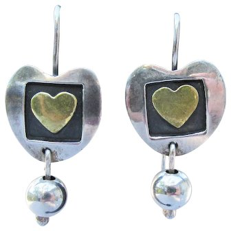 Vintage Mexico Sterling Silver HEART & Dangle Ball Earrings, Signed Far Fetched