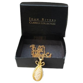 Joan Rivers Book Piece 1990s Faux Pearl EGG Necklace, Mint In Box