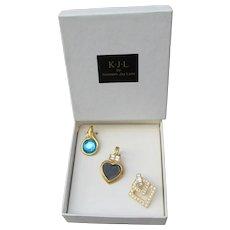 RARE Signed KJL Kenneth Jay Lane Vintage 3 Necklace Enhancers, New In Box