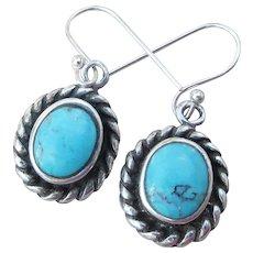 Sterling Silver & Turquoise Vintage Dangle Pierced Earrings