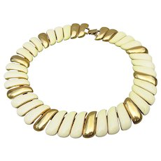 Gorgeous Signed MONET 1980s Ivory Enamel Collar Necklace