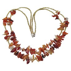1960s Vintage Hippie Genuine Amber Nugget Double Strand Necklace