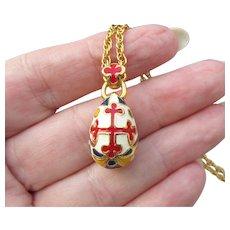 Joan Rivers Vintage Enamel Russian Red Cross Egg Necklace, Mint In Box