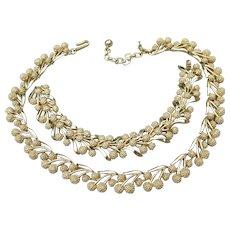 Signed TRIFARI Vintage Gold Tone Flower Cluster Necklace & Bracelet Set