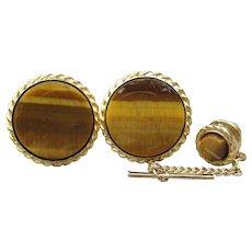 1960s Vintage TIGER EYE Gemstone Cufflinks & Tie Tack Set
