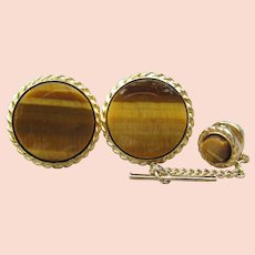 1960s Vintage TIGER EYE Gemstone Cufflinks & Tie Tack Set