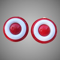 Vintage 1960s MOD Red & White Lucite Clip Earrings, MINT!