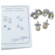 3 Pair Nolan Miller Crystal Rhinestone Stud Pierced Earrings