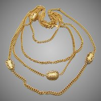 Signed KJL Kenneth Jay Lane Two Long Gold Tone Chain Necklaces Set, MIB!