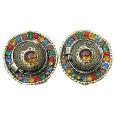 Signed PA Vintage Sombrero Mexican Hat Clip Rhinestone Earrings