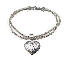 Milor Italy Puffy Heart 2 Strand Vintage Sterling Silver Popcorn Chain Charm Bracelet